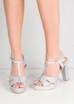 Glitter Peep Toe Platform Heeled Sandals Silver