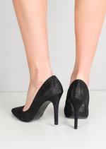 Glitter Pointed Toe Stiletto Court Heels Black
