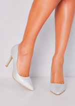 Glitter Pointed Toe Stiletto Court Heels Silver