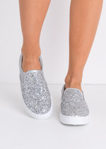 Glitter Slip On Trainers Silver