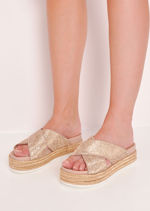 Glitter Studded Flatform Sliders Rose Gold