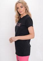 Glitter Vogue Slogan T-Shirt Black