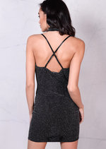 Glittery Draped Halterneck With Choker Cross Back Bodycon Mini Dress Black