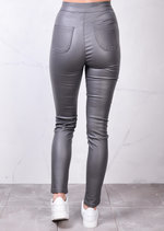 High Waisted Faux Leather Look Jeans Grey