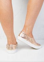 Glittery Star Slip On Plimsolls Shoes Metallic Rose Gold