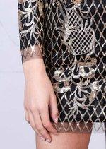 Gold Sequin Backless Mini Bodycon Dress Black