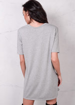 Graphic T Shirt Dress Grey