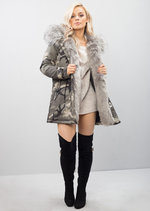 Grey Faux Fur Hooded Padded Parka Camo Khaki Coat Khaki Green