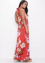 Halter Neck Floral Satin Split Front Maxi Dress Red