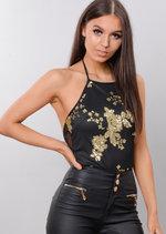 Halterneck Mesh Floral Sequin Embellished Bodysuit Black