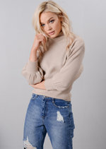 Ribbed Mock Neck Batwing Sleeve Knitted Jumper Beige
