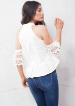High Neck Cold Shoulder Lace Ruffle Hem Crop Top White