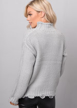 High Neck Distressed Hem Cable Knit Jumper Grey