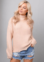 High Neck Distressed Hem Cable Knit Jumper Pink