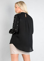 High Neck Pearl Embellished Top Black