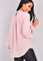 High Neck Pearl Embellished Top Pink