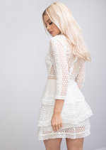 High Neck Ruffle Tiered Lace Mini Dress White