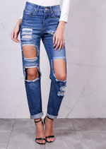 High Rise Extreme Ripped Detail Denim Boyfriend Jeans Light Blue