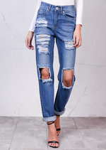 High Rise Knee Busted with Ripped Detail Boyfriend Denim Jeans Light Blue