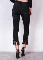 High Rise Ripped Detail Fringe Hem Cropped Skinny Jeans Black