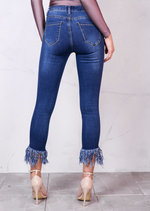 High Rise Ripped Detail Fringe Hem Cropped Skinny Jeans Blue