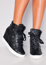 High Top Ribbon Lace Up Wedge Heel Trainers Black