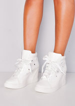 High Top Ribbon Lace Up Wedge Heel Trainers White