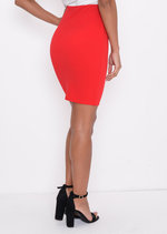 High Waisted Button Detail Mini Bodycon Skirt Red