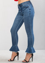 High Waisted Frill Skinny Denim Crop Jeans Blue