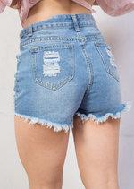 High Waisted Pearl Embellished Distressed Denim Shorts Light Blue