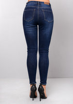 High Waisted Side Stripe Skinny Denim Jeans Blue