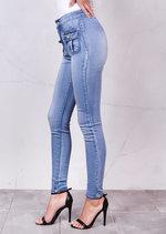 High Waisted Superstretch Front Pocket Detail Skinny Lightwash DenimJeans Blue