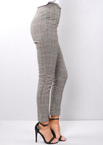 High Waisted Tailored Check Houndstooth Trousers Brown