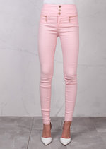 High Waisted Triple Button Jeans Leather Look Trousers Pink