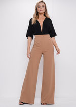 High Waisted Camel Wide Leg Palazzo Trousers Beige