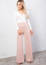 High Waisted Wide LegPalazzo Trousers Pink