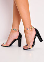 Holographic Clear Strap High Heels Black