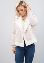 Hybrid Aviator Puffer Jacket Pink
