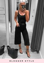 Tailored Cropped Culotte Trousers Black