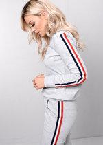 Jersey Side Stripe Loungewear Co Ord Set Tracksuit Grey