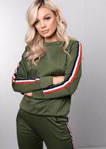 Jersey Side Stripe Loungewear Co Ord Set Tracksuit Khaki Green