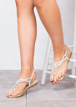 Jewel Embellished Low Wedge Sandals Silver