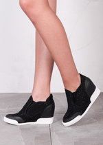Jewel Studded Reptile Wedge Trainers Black