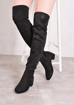 Over The Knee Mid Block Heel Faux Suede Long Boots Black
