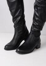 Knee High Strap Around Buckle Boots Black