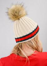Knitted Faux Fur Pom Pom Red Green Stripe Beanie Hat Beige