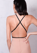 Lace Backless Nude Mesh Bodysuit Black