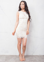 Lace Corset Detail Mini Bodycon Dress White