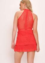 Lace Tiered Frill Mini Dress Red