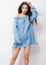 Lace Up Denim Bardot Dress Light Blue